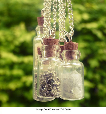 Crushed rock charm necklaces from KNow and Tell Crafts