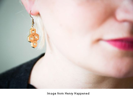 hex honeycomb earrings from Stephanie at Heny Happened