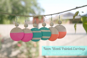 DIY Neon Wood Earrings